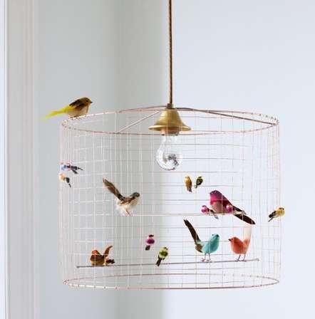 whimsical avian lighting bird cage
