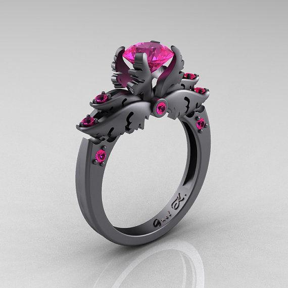 Darkly Angelic Wedding Rings Black Wedding Rings