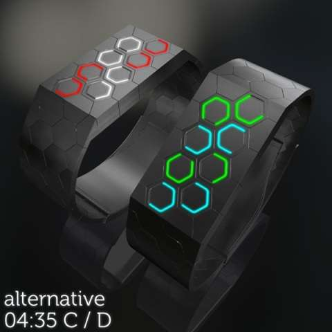 Futuristic Geometric Timepieces Hexagons LED Watch