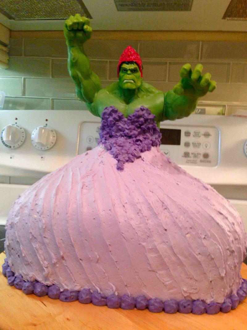 Cross Dressing Superhero Cakes   hulk princess Cross Dressing Superhero Cakes