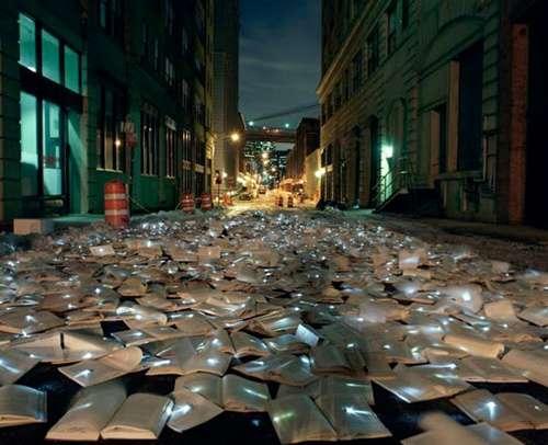 Novel Light Installations Luzinterruptus Illuminated Books