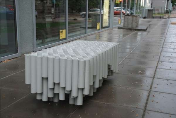 Upcycled Pipe Seating Rainwater Pipe Bench