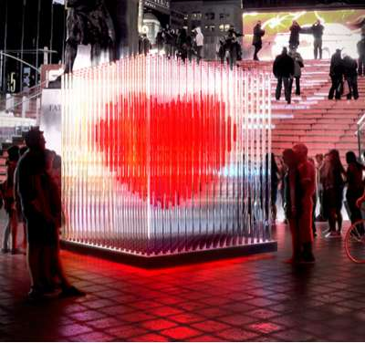 Interactive Love Installations Times Square Heart Sculpture