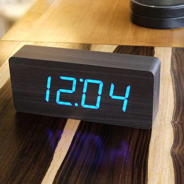 Wood Block Clocks Wooden Alarm Clock