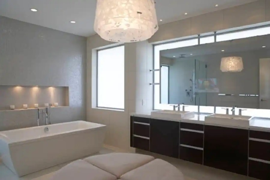Bathroom Lighting Ideas For Every Style View in gallery modern light fixture in the bathroom Bathroom Lighting Ideas  For Every Style