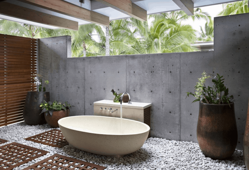 simple outdoor tub Grey Bathroom Trends That Are A Must See