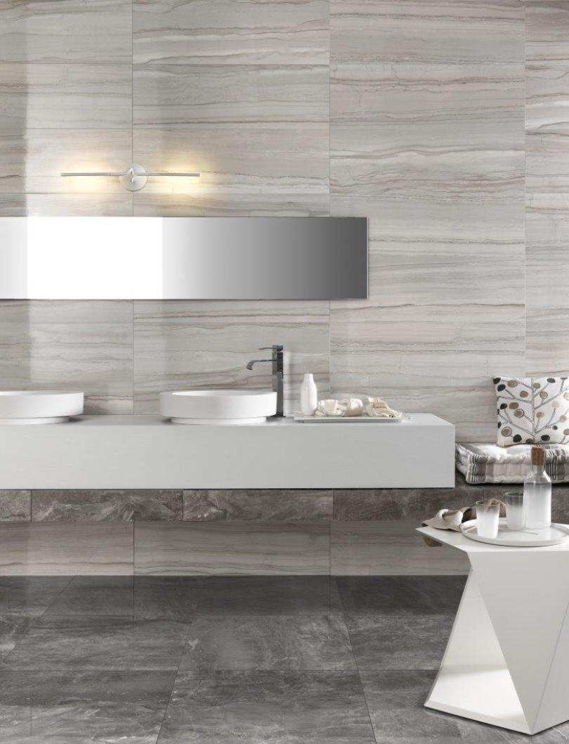 tiles from top to bottom Grey Bathroom Trends That Are A Must See