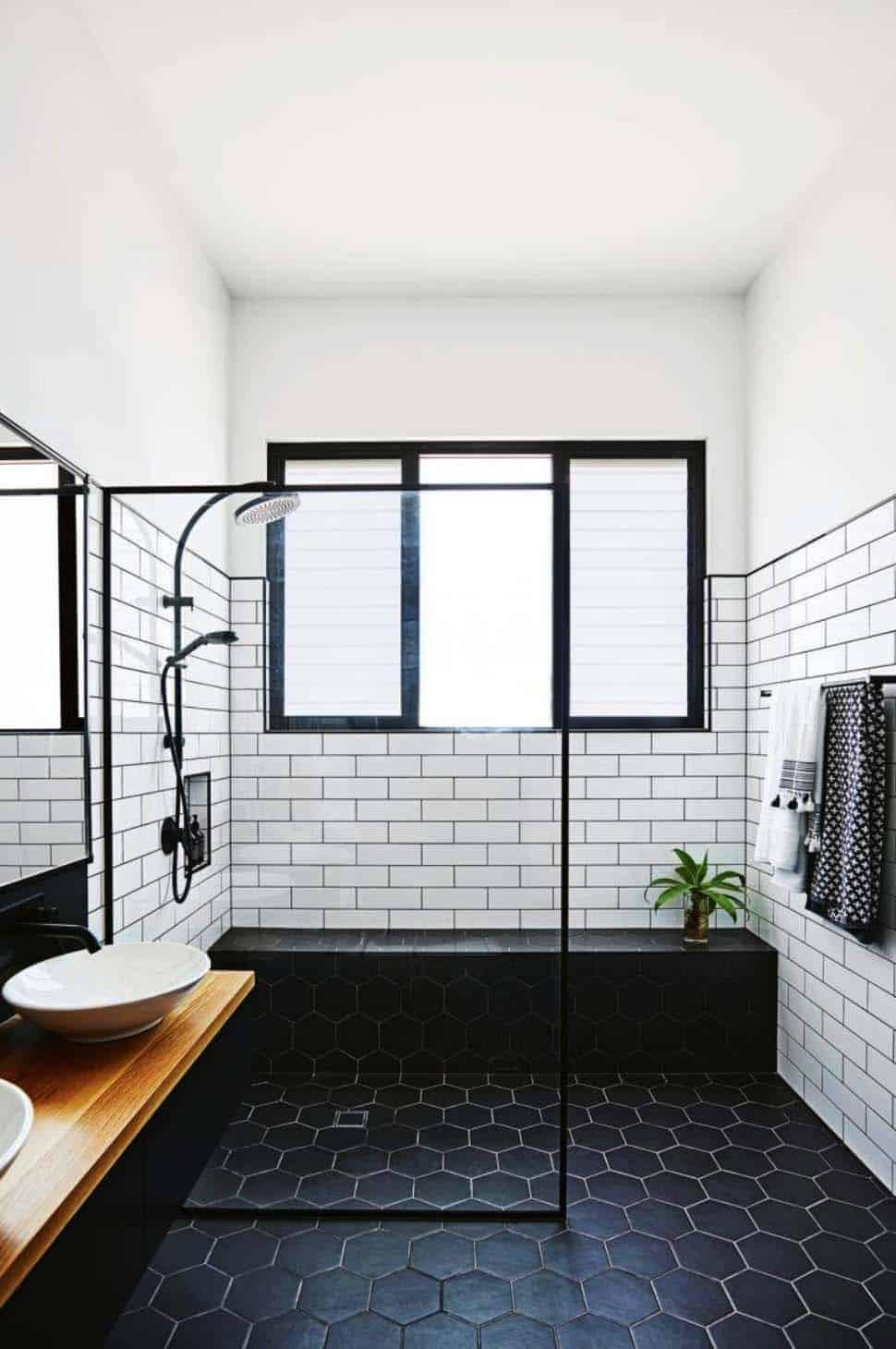 black amd white tub Walk in shower ideas that bring you a Zen feel