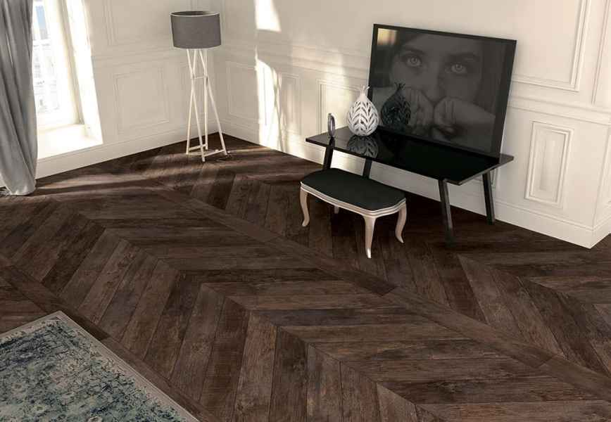 Wood Look Tile  17 Distressed  Rustic  Modern Ideas View in gallery chevron parquet look porcelain tile mirage jpg