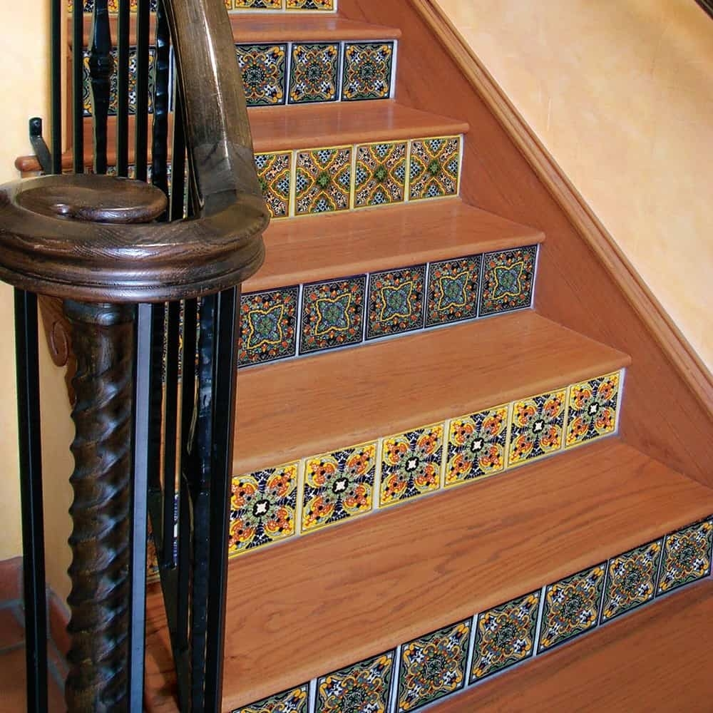 44 Top Talavera Tile Design Ideas   Wood And Tile Stairs   Rocell Living Room   Tile Floor   Basement   Quarter Round Stair Hardwood   White