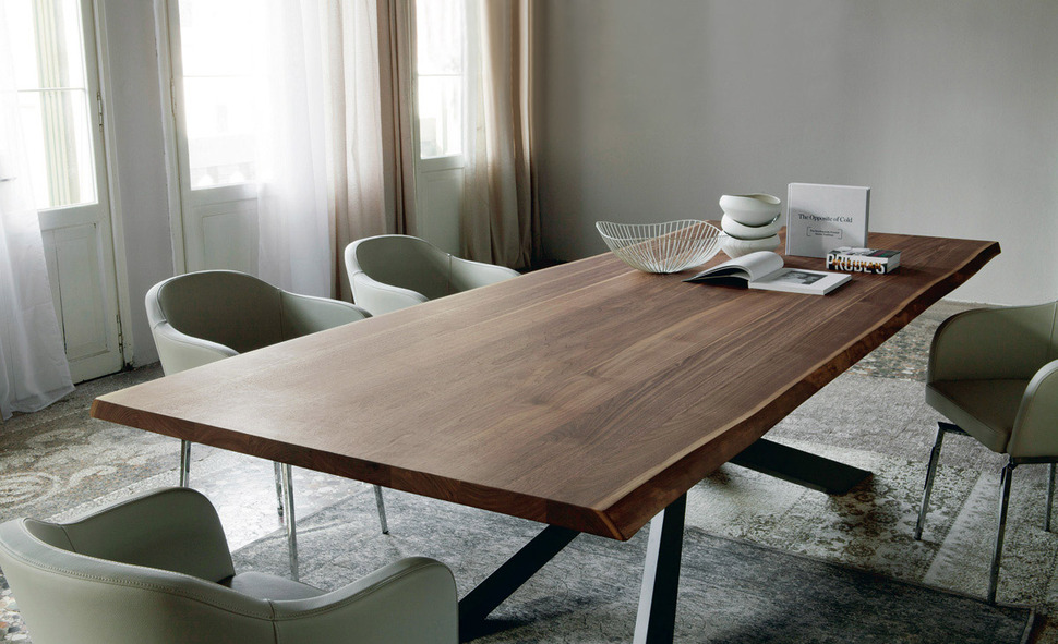 dining table with irregular solid wood edges by cattelan on solid wood dining table id=68885