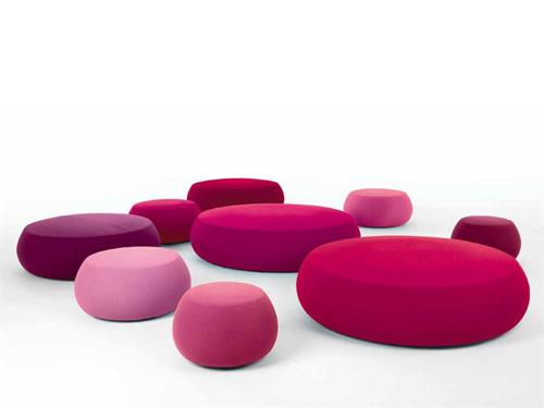 fabric pouf soft round ottoman pix by