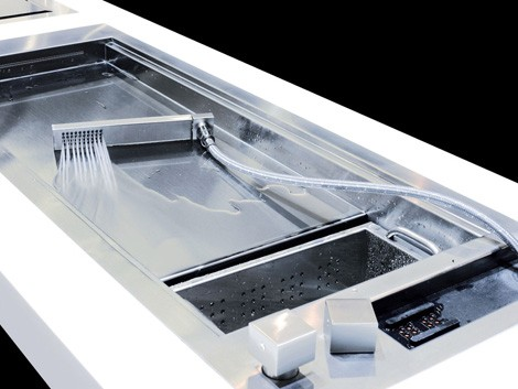 shallow prep sink from glem with a