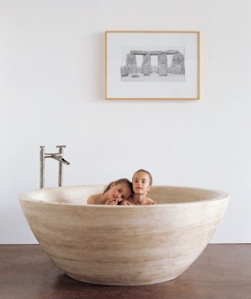 Stone Soaking Tub From Stone Forest The Travertino Round Tub
