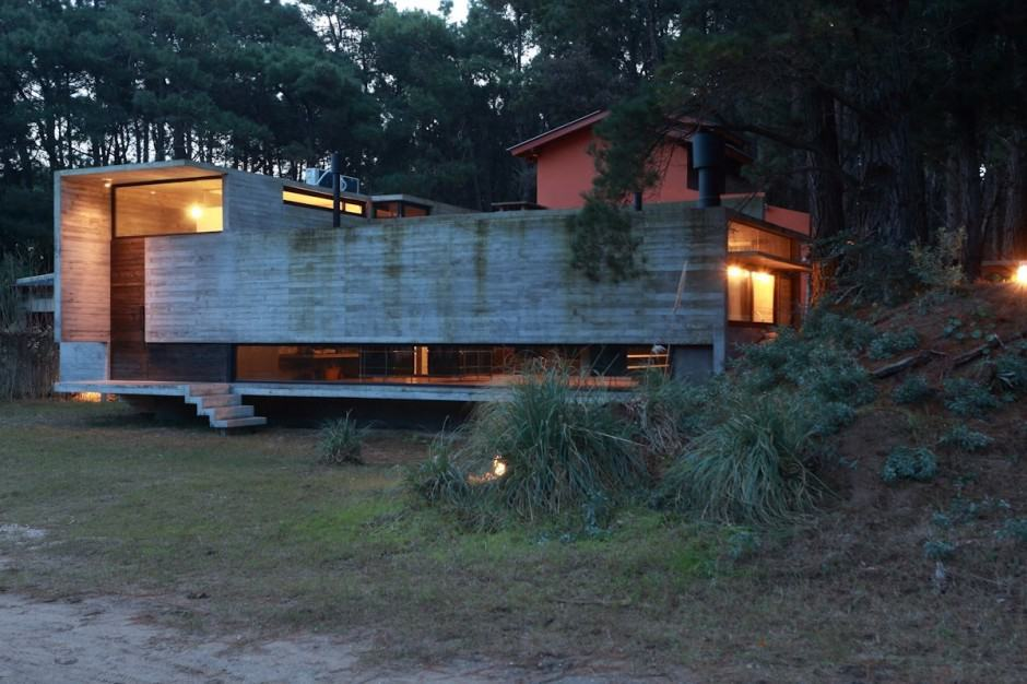 Concrete And Steel Summer Home Tucked Into Pine Forest