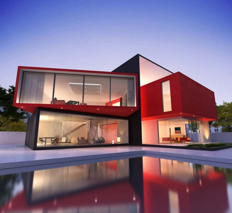 Red Exterior Homes: Paint the Town on Modern House Painting  id=64783