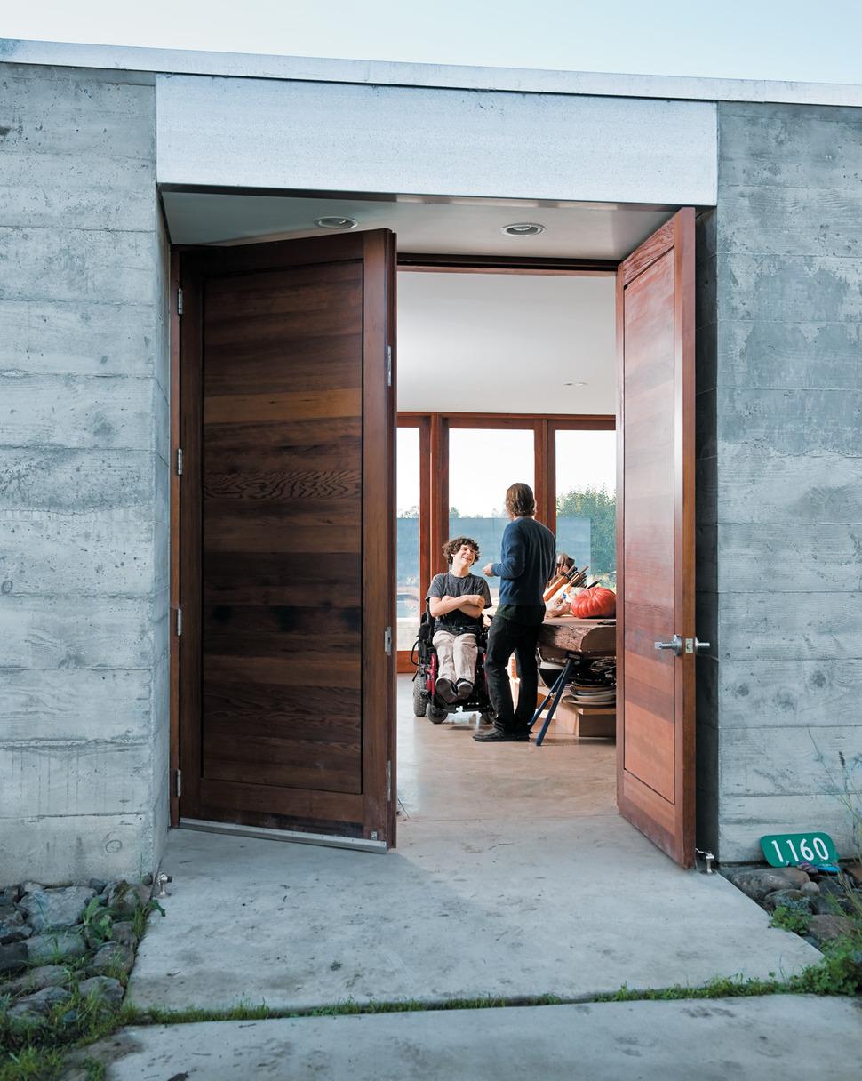 Prefab Concrete Farmhouse Massive Cypress Slab Table And