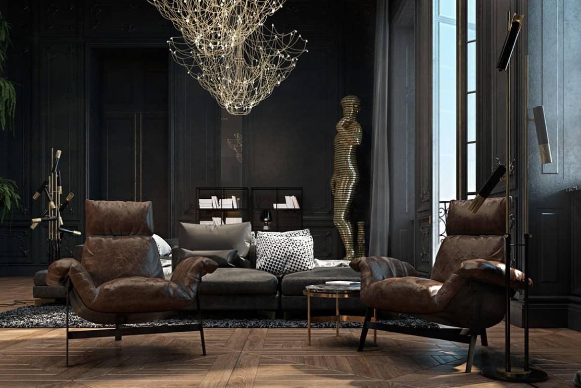 Beautiful Black Interior Showcased In A Historic Paris