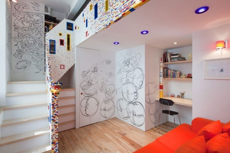 Colorful Staircase Designs 30 Ideas To Consider For A Modern Home | Pop Design For Stairs Wall | Frame Up | Main Entrance | Wall Paper | Entry Wall | Luxury