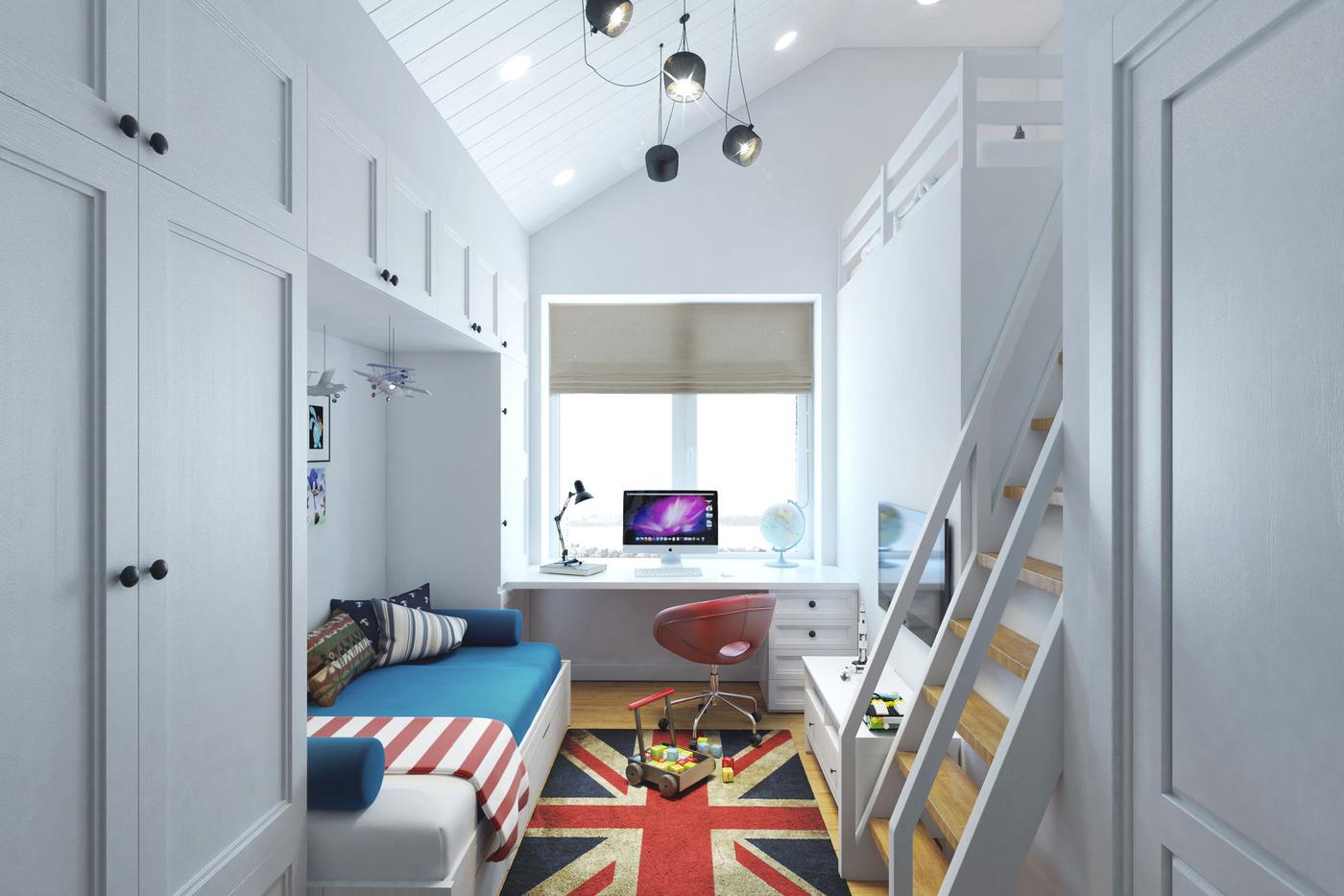 Small Teenage Room Design with a Second Floor Sleeping ... on Small Teen Bedroom Ideas  id=69964