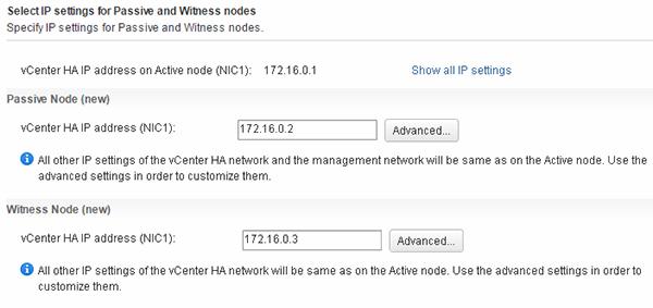Selecting node IP settings.