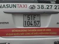 Yêu cầu tài xế Vinasun tháo gỡ ngay khẩu hiệu phản đối Uber, Grab