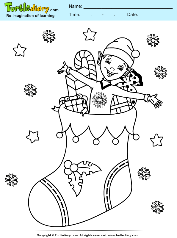 Stocking Elf Coloring Sheet Turtle Diary