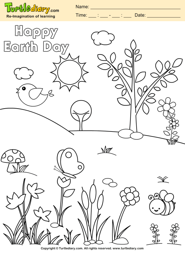 Planet Earth Coloring Sheet Turtle Diary