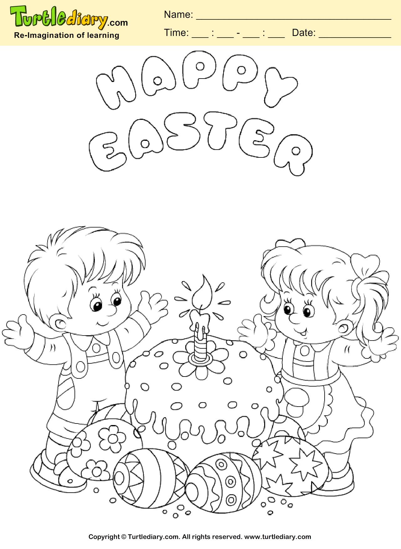 Easter Cake Coloring Sheet