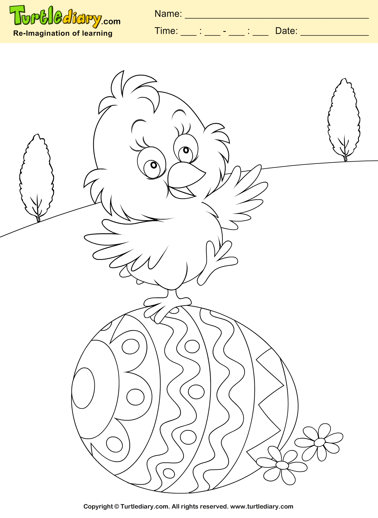 Easter Egg And Chicken Coloring Sheet