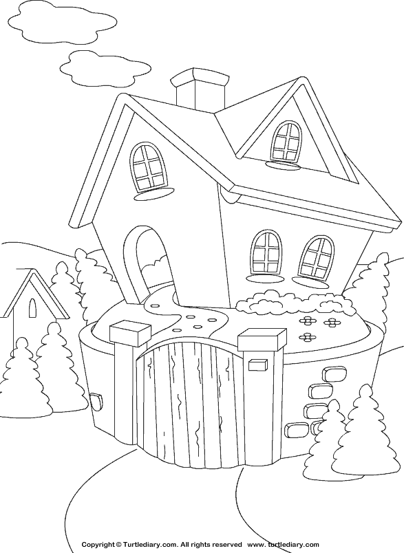 Cottage Coloring Sheet Turtle Diary