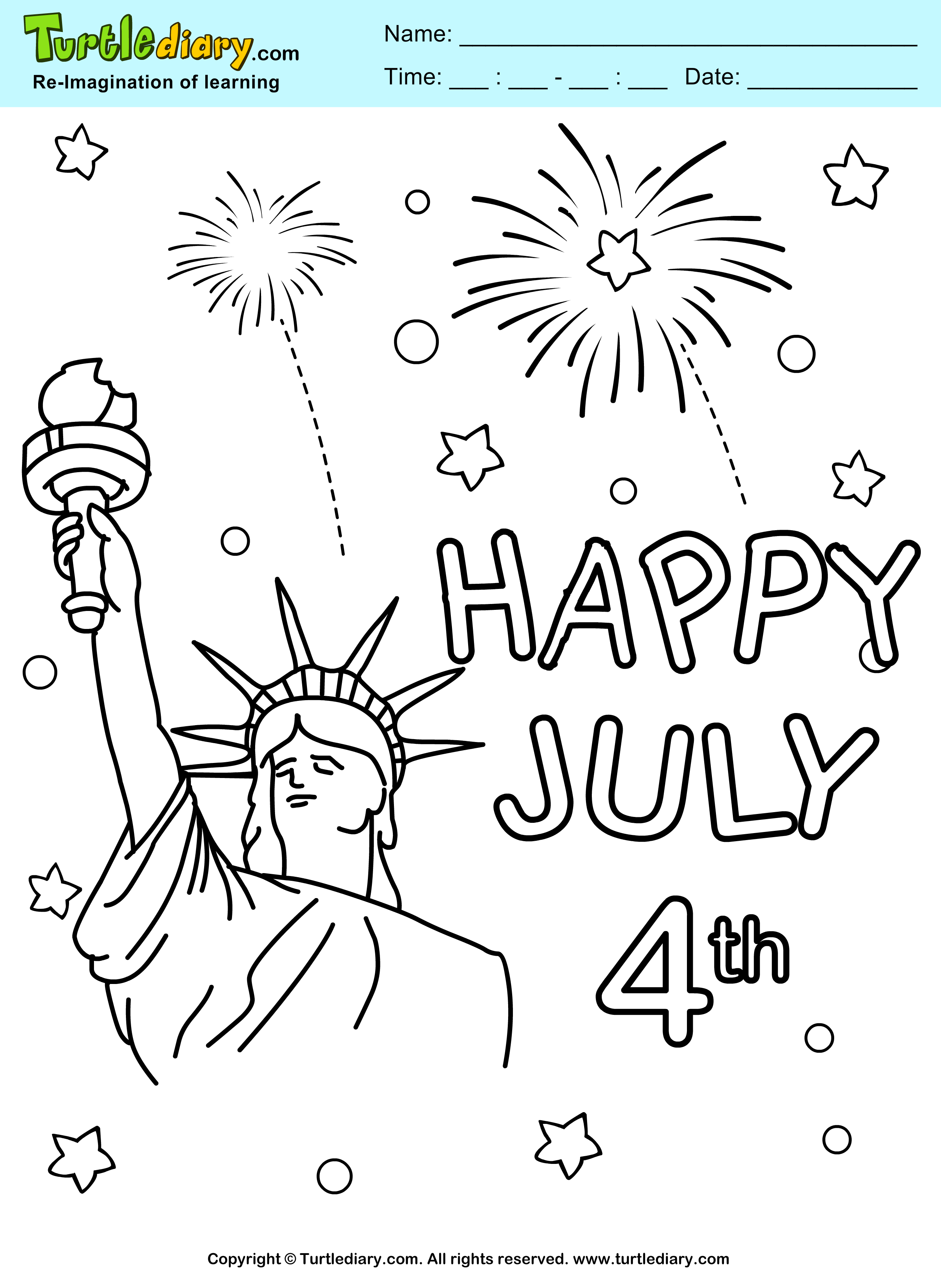 Fireworks 4th Of July Printable Coloring Sheet