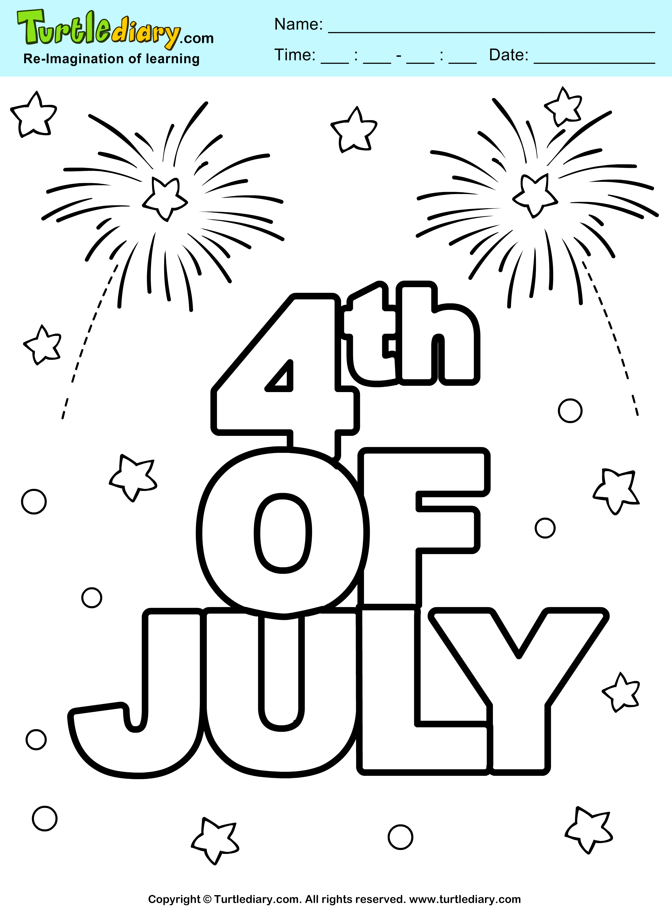 Fourth Of July Independence Day Coloring Sheet