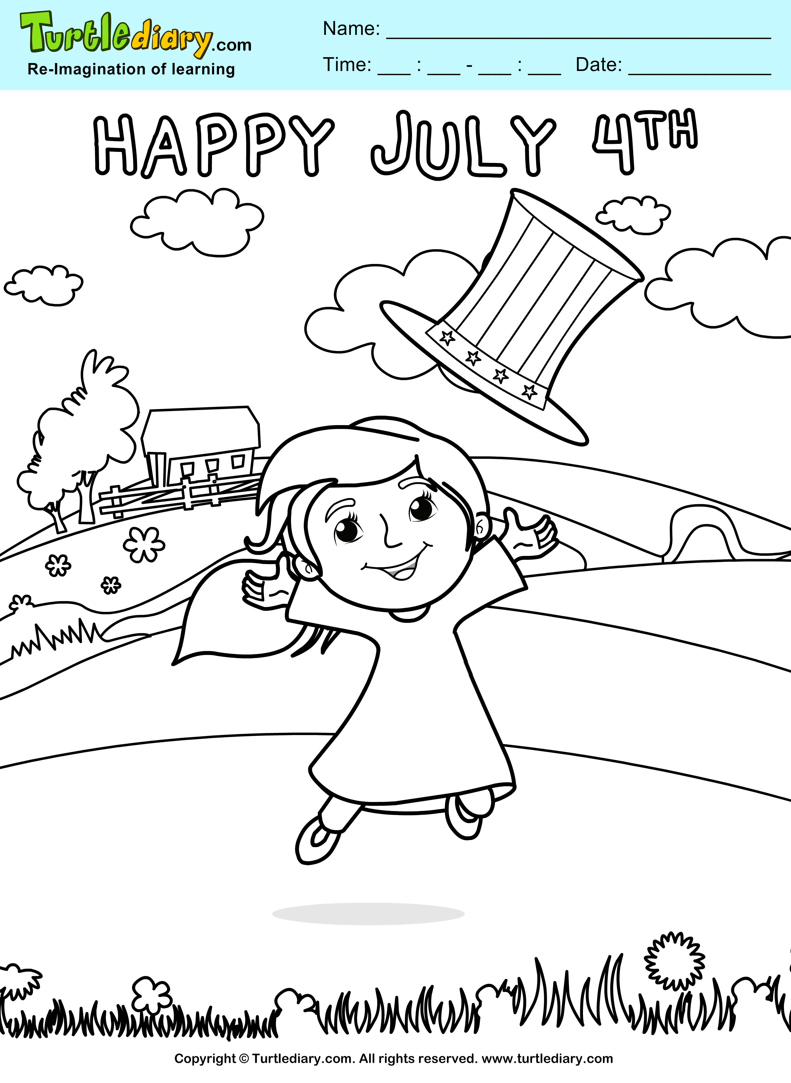 Happy July 4th Printable Coloring Sheet
