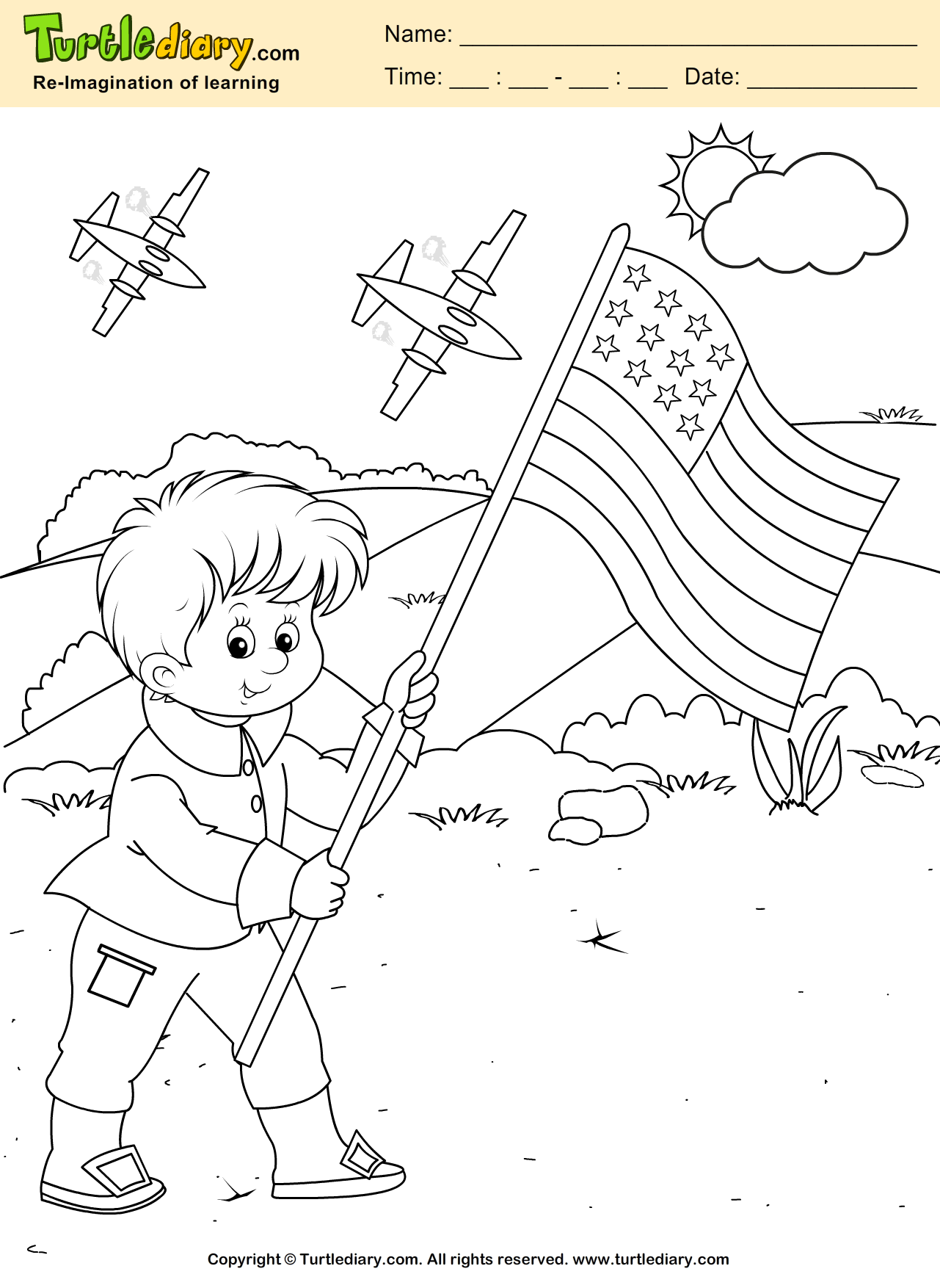 Kid With Flag Coloring Sheet