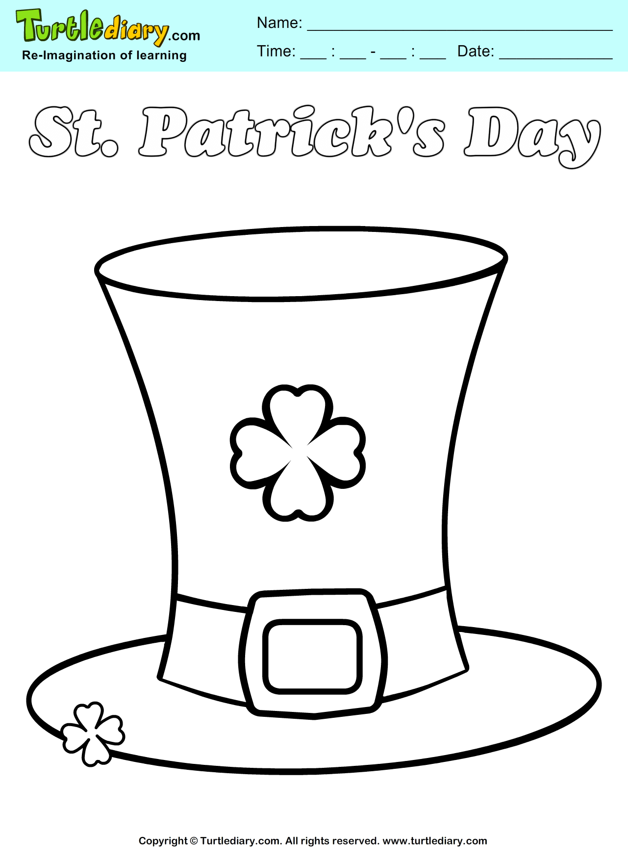 St Patrick S Hat Coloring Sheet