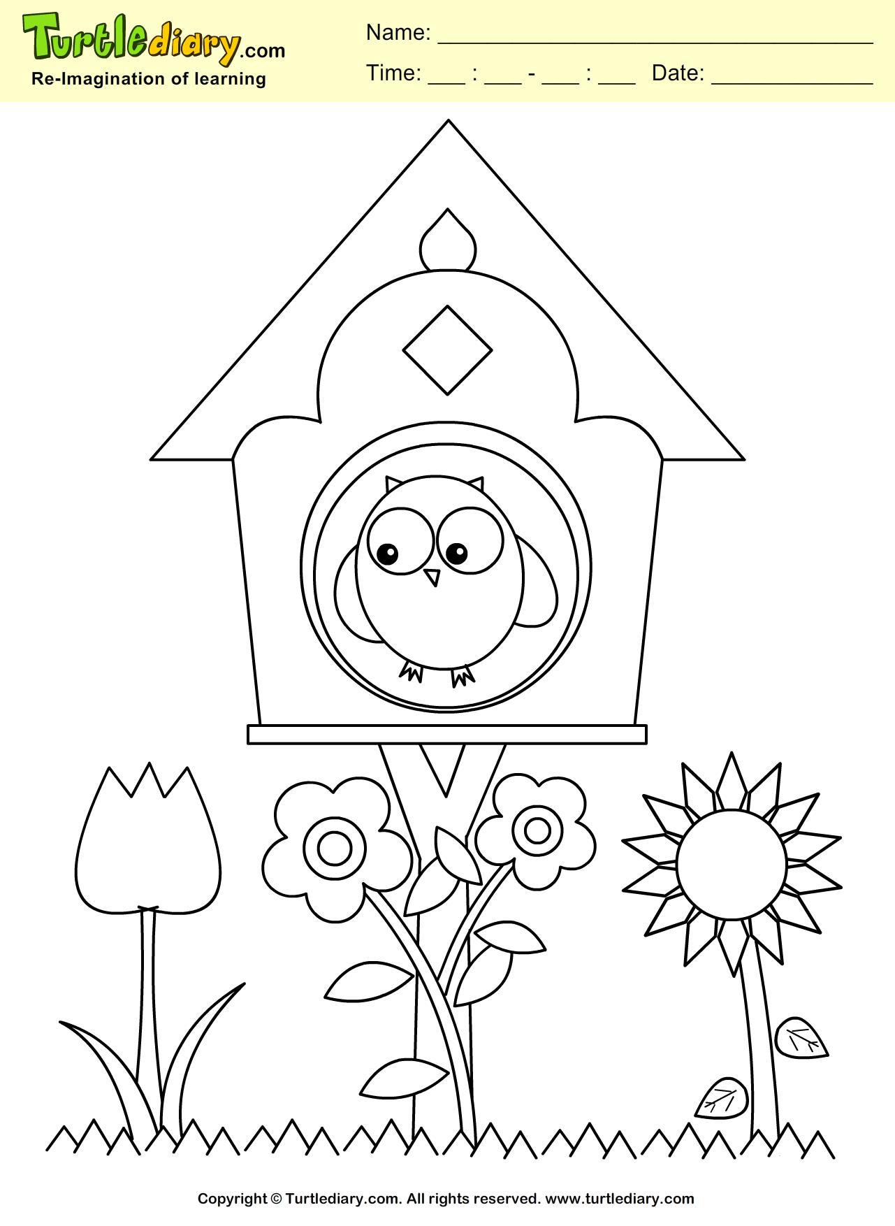 Bird House Coloring Sheet