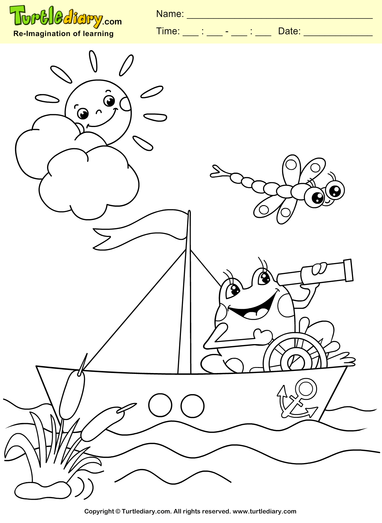 Frog And Boat Coloring Sheet