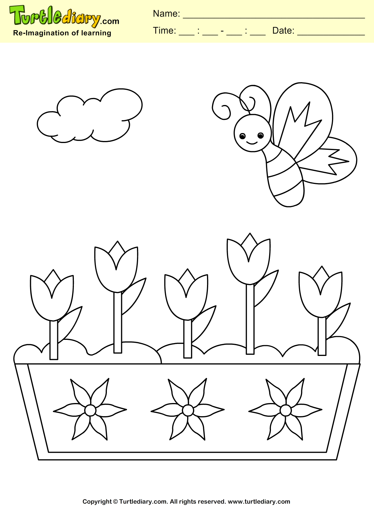 Spring Butterfly Coloring Sheet
