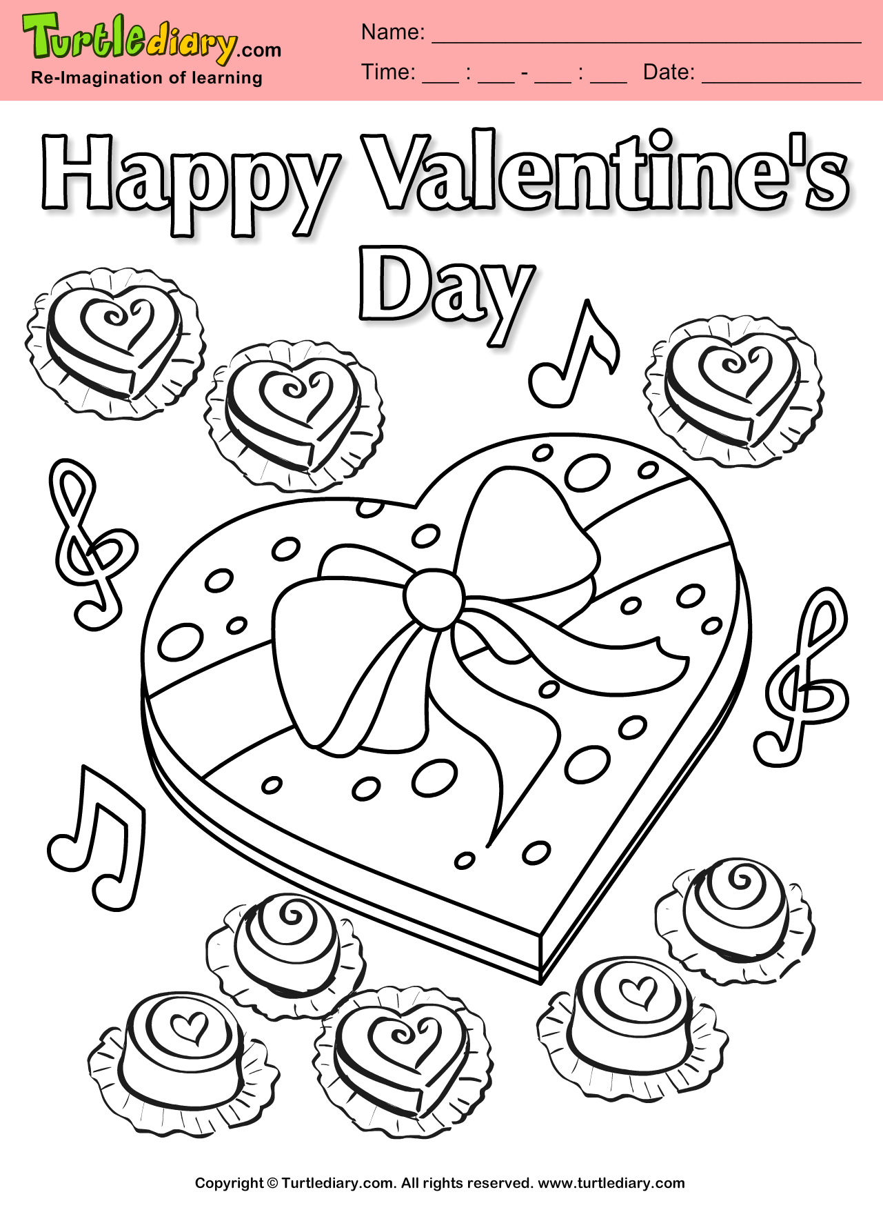 Chocolate Heart Coloring Sheet
