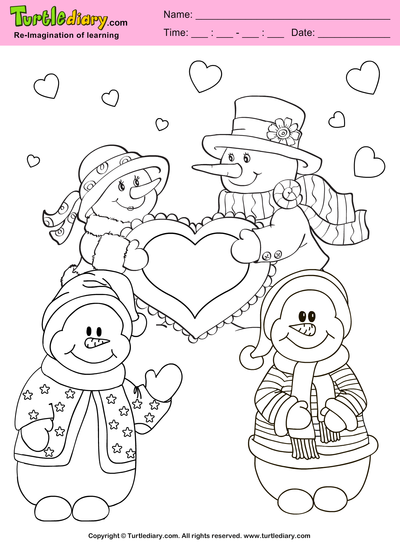 Snowman Valentine Day Coloring Sheet
