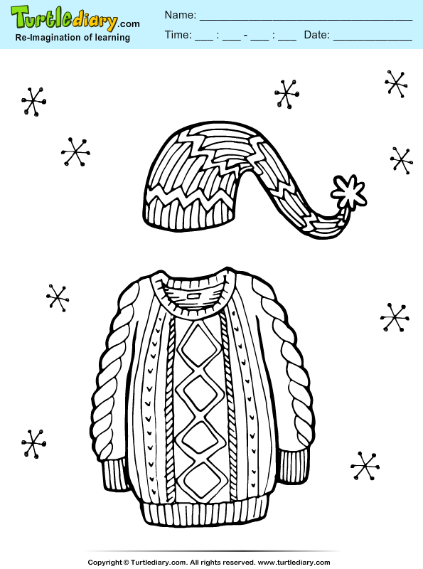 Sweater And Cap Coloring Sheet Turtle Diary