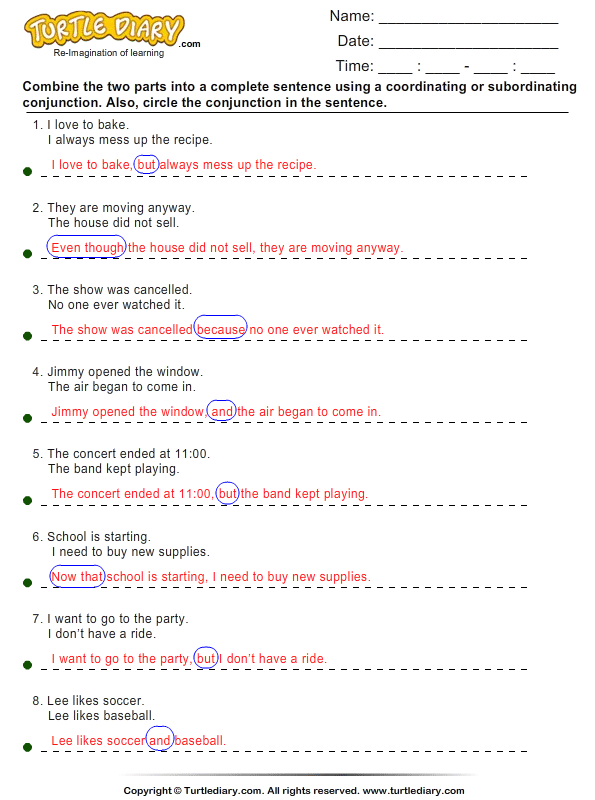 Subordinating Conjunctions Worksheets