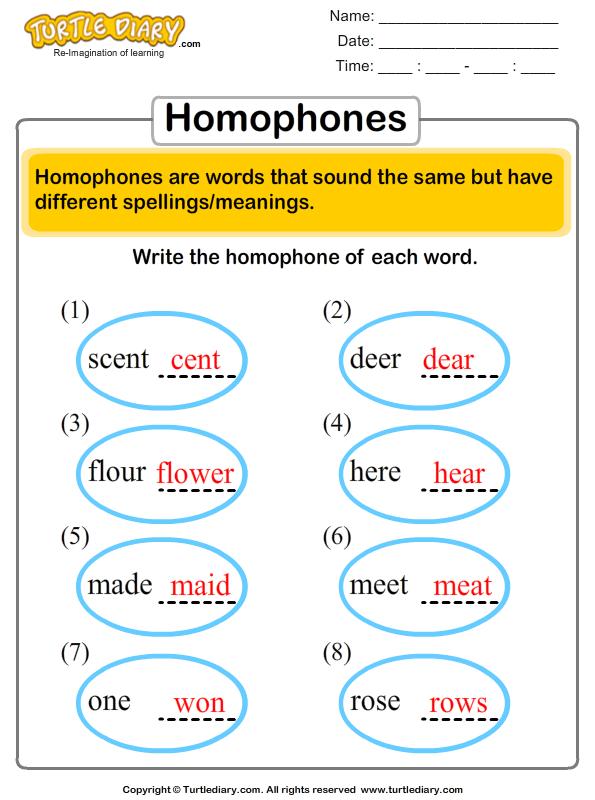 Homophones For Each Word Worksheet