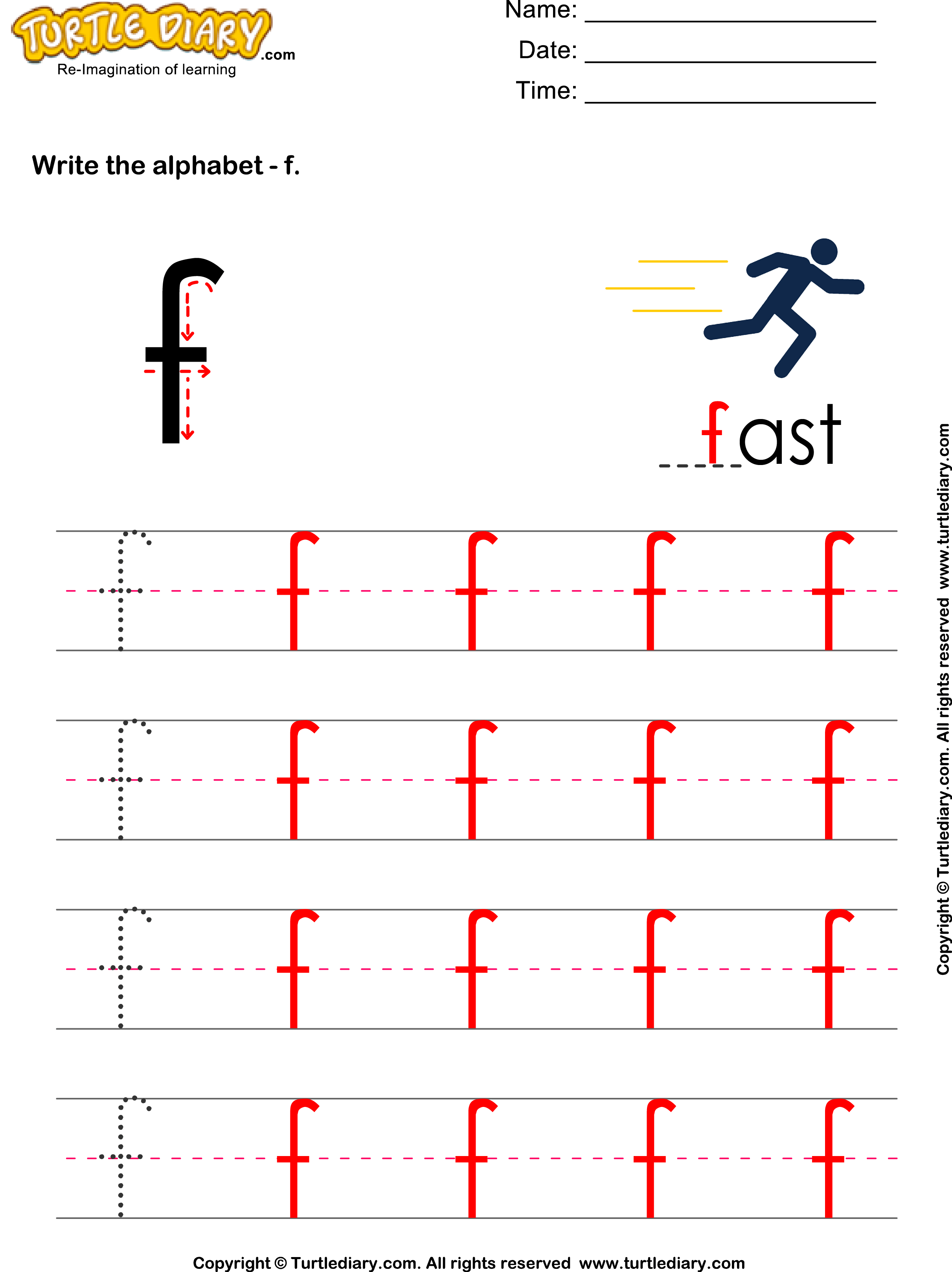 Lowercase Alphabet Writing Practice F Worksheet