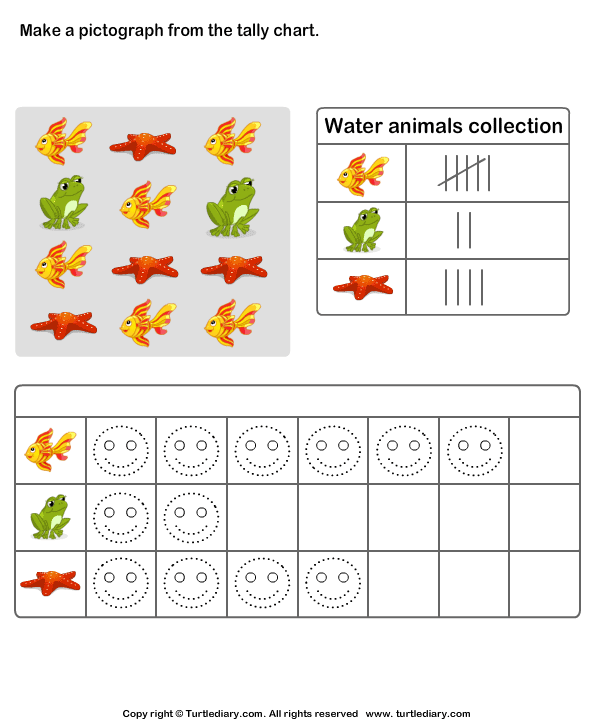 Make Pictograph Of Water Animals Collection Worksheet