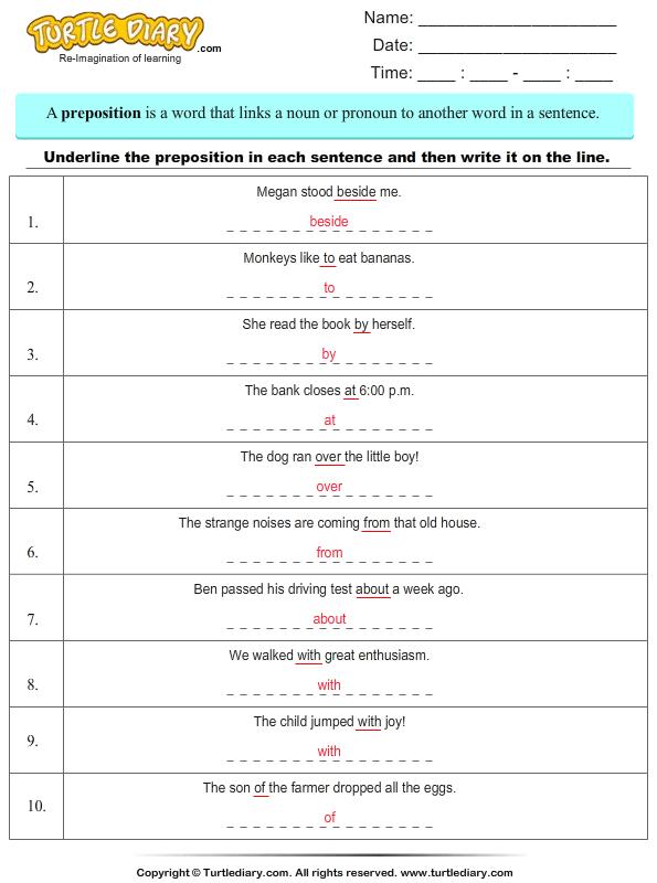 Underline Prepositions In A Sentence Worksheet