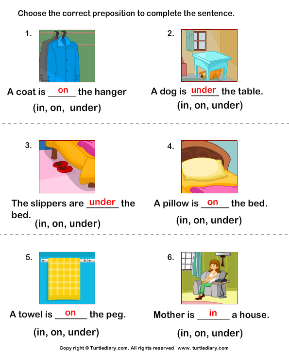 Write Preposition In On Under To Complete Sentences