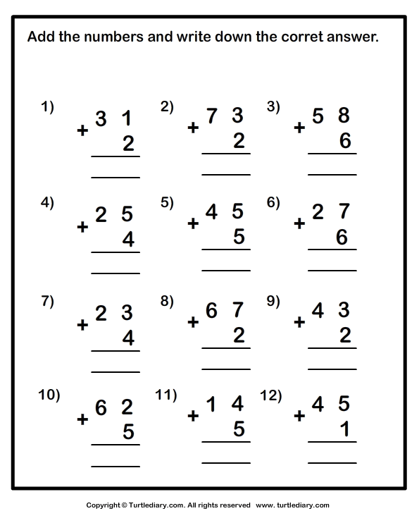 Adding One Digit Numbers And Two Digit Numbers Worksheet
