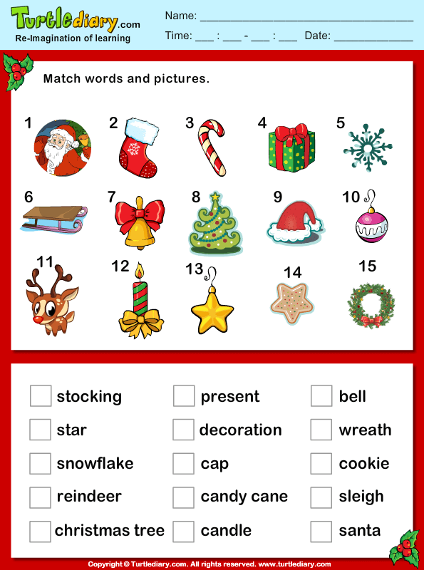 Christmas Vocabulary Words and Pictures Worksheet - Turtle ...